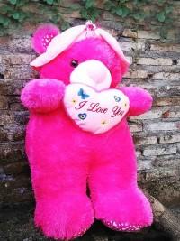 Jual Boneka Teddy Bear Pink Besar Pakai Topi