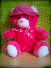 Jual Boneka teddy Bear Bertopi warna pink Ukuran Sedang
