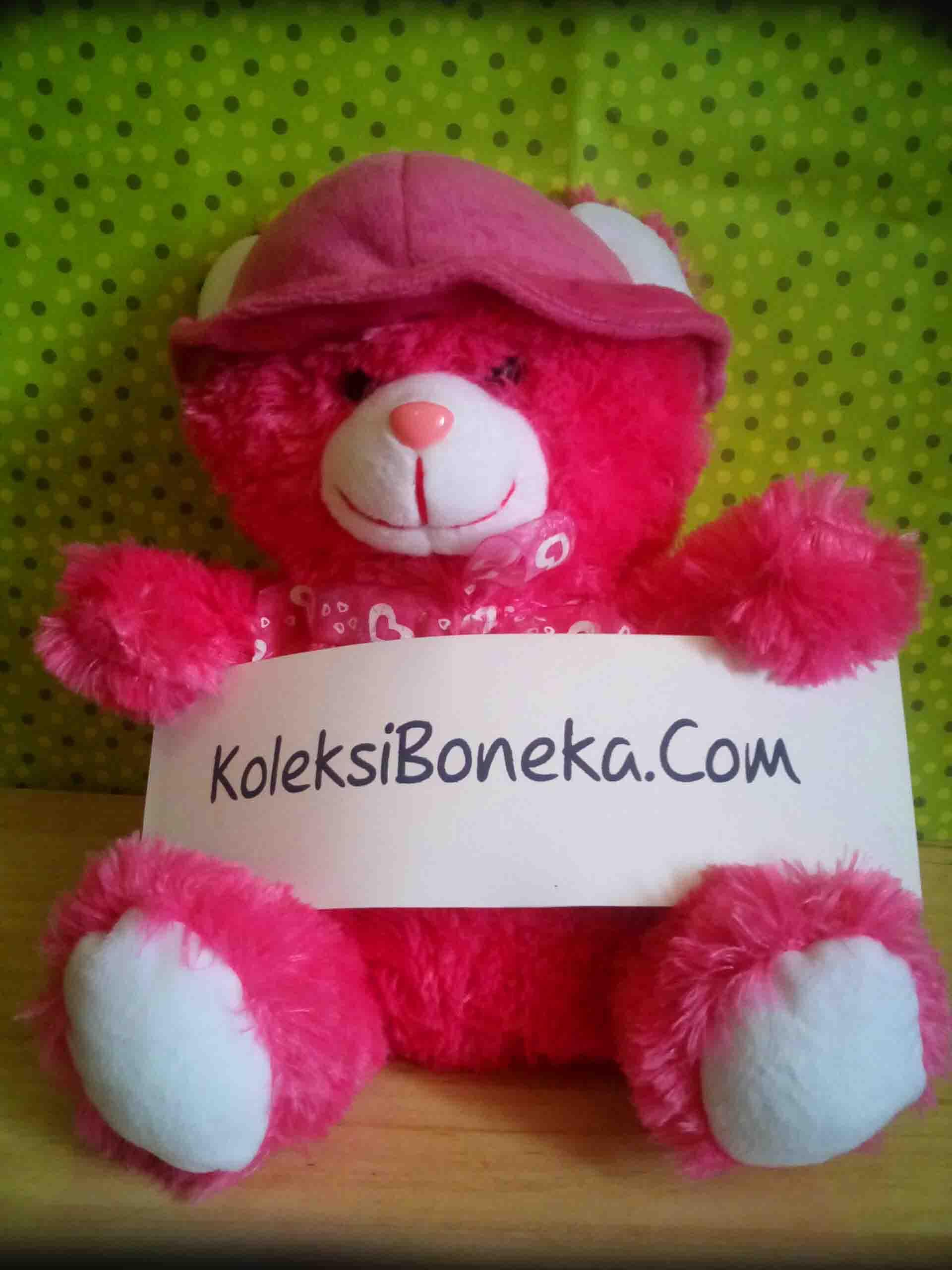 Jual Boneka Teddy Bear Bertopi Warna Pink Ukuran Sedang1
