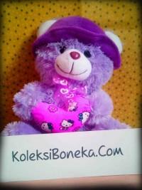 Jual Boneka teddy Bear Bertopi warna ungu Ukuran Sedang1