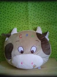 jual boneka bantal kepala sapi warna krem murah