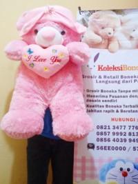 jual boneka teddy bear bertopi jumbo warna pink muda,grosir boneka teddy bear jumbo