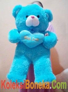 jual boneka teddy bear jumbo biru pegang bantal love