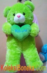 boneka teddy bear warna hijau