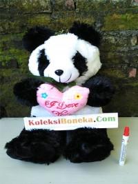 boneka panda love XL Hitam putih