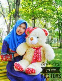 Boneka Teddy Bear Syal Jumbo Krem